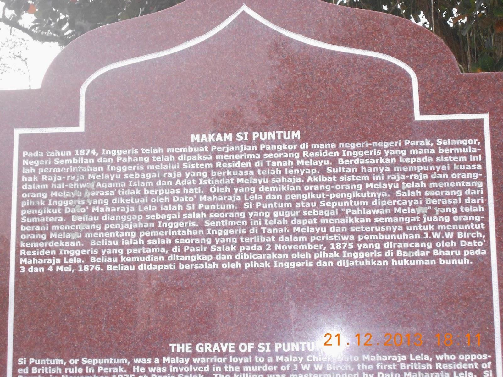 Kuasa Raja Melayu sudah lama hilang dalam Perjanjian Pangkor  pada tahun 1874