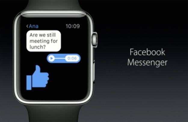 ساعة آبل تحصل على تطبيق مسنجر فيس بوك بشكل رسمي من أجل ان تبقى على تواصل دائم مع اصدقائك و أقاربك و تبادل الرسائل الصوتية و الملصقات معهم