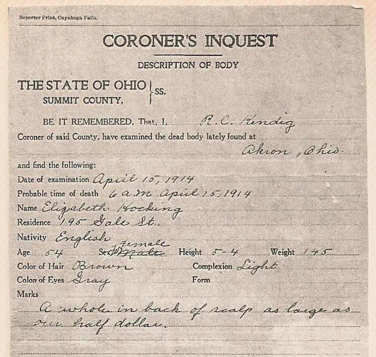 Elizabeth's Death Certificate ~