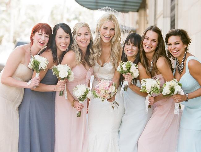 to your wedding theme let your bridesmaids wear different colors