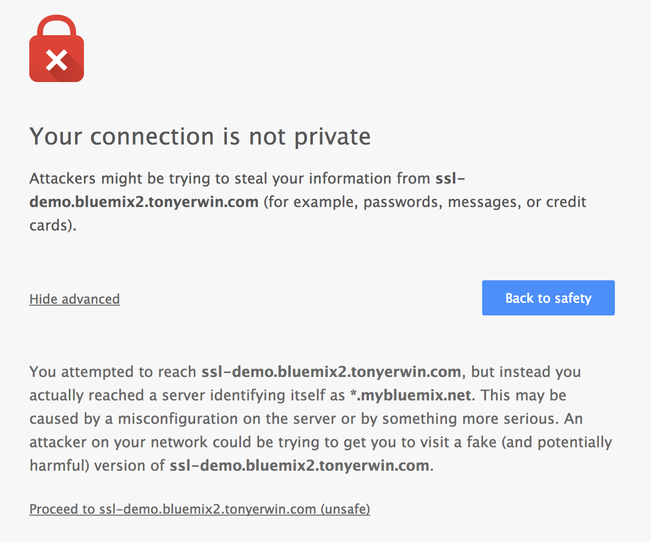 Security Warning in Chrome With Custom Domain