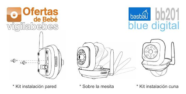 kit instalacion intercomunicador con cámara digital basbau bb201 blue digital