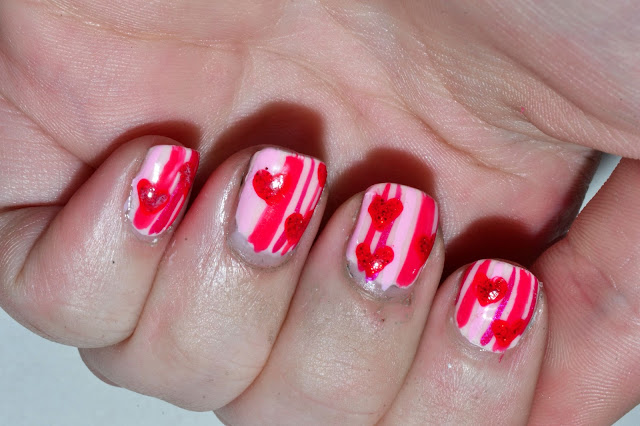 Striped Valentines Day Nails by Elins Nails