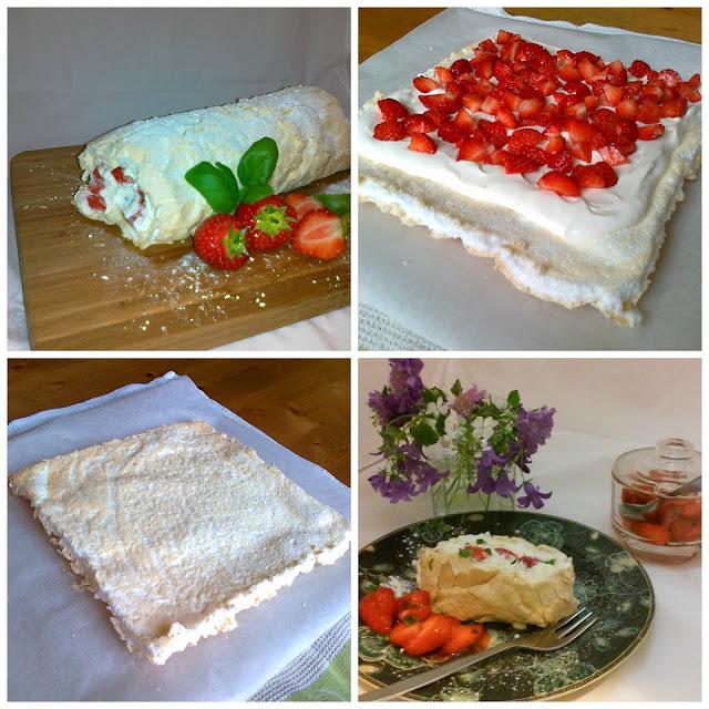 Summer Strawberry Roulade with Basil & Mascarpone