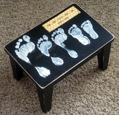 Footprint Stool Keepsake Decor Gift