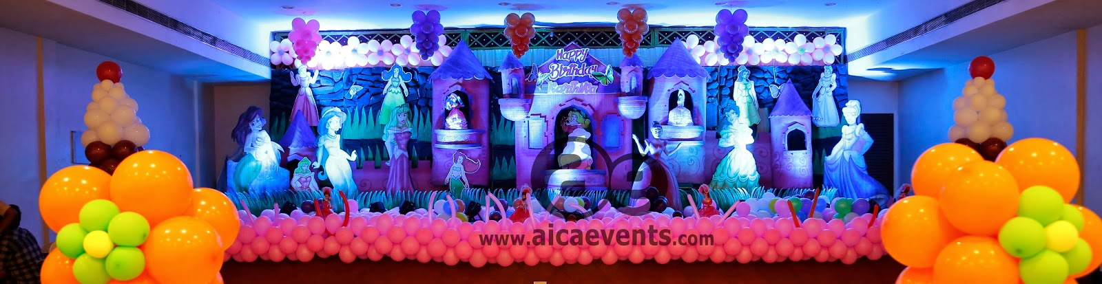 Stage Backdrop & Aicaevents India: Princess Theme Birthday decorations