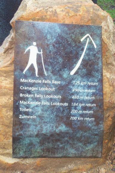 Sign showing walks around MacKenzie Falls