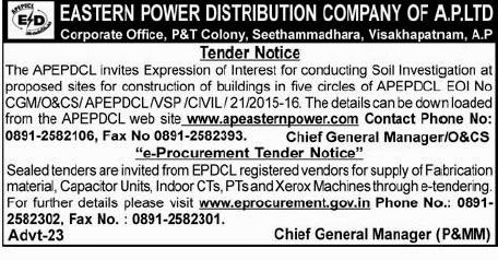 AP E-Procurement Tender Notifices April 2015, Visakhapatnam e-tenders 2015, e-tender last date, e-procurement application forms documnets download