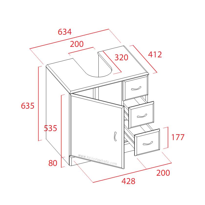 Mueble ba o lavabo pedestal 63 tu cocina y ba o - Tiradores para muebles de bano ...