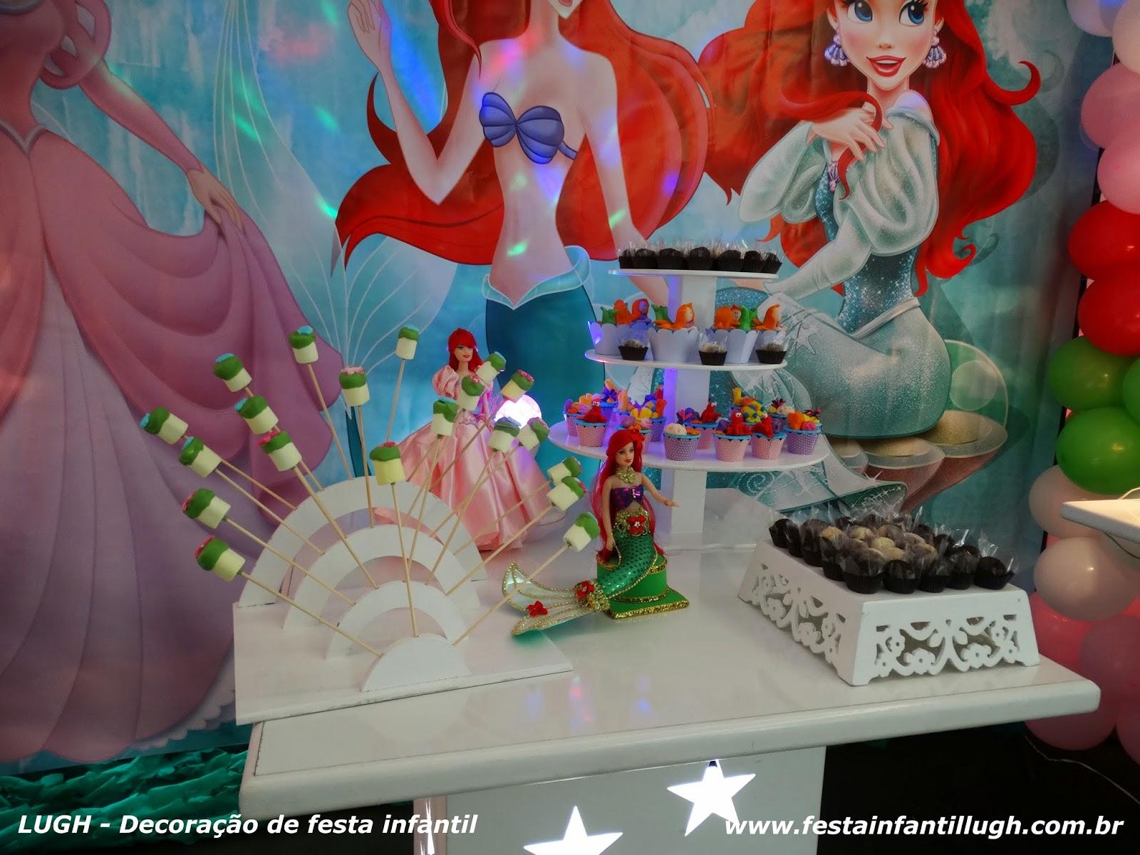 Festa infantil com o tema da Ariel