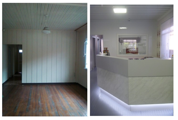 decoracao de interiores de casas de madeira:Arte e Decoração: Loja Pintura e cia – reforma de casa de madeira