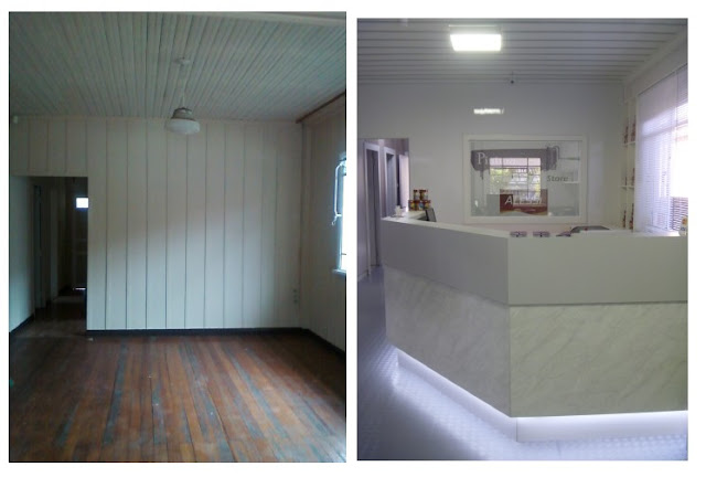 decoracao de interiores em casas de madeira:Arte e Decoração: Loja Pintura e cia – reforma de casa de madeira