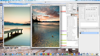 Photoshop screenshot showing steps involved with making a before and after composite scenic photo.