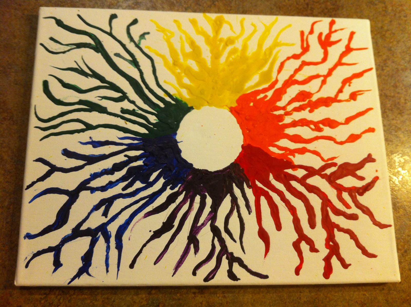 color crayon art : Repeat The Last Step Over For Each Color Of The Color Wheel Until Completed