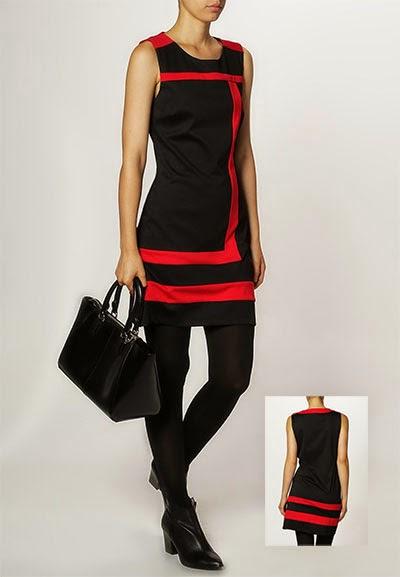 Robe courte en jersey noir et rouge Anna Field