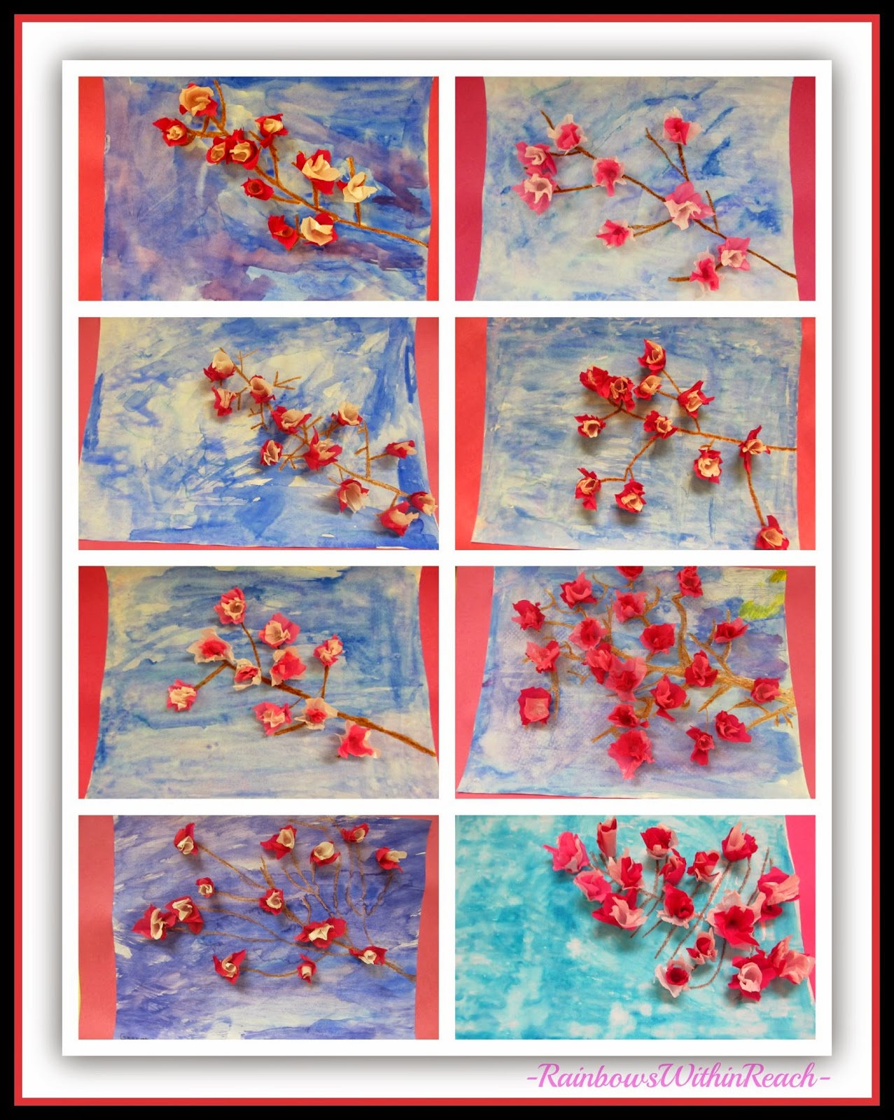 3D Multi-Media Spring Blossoms in Tissue Paper at RainbowsWithinReach
