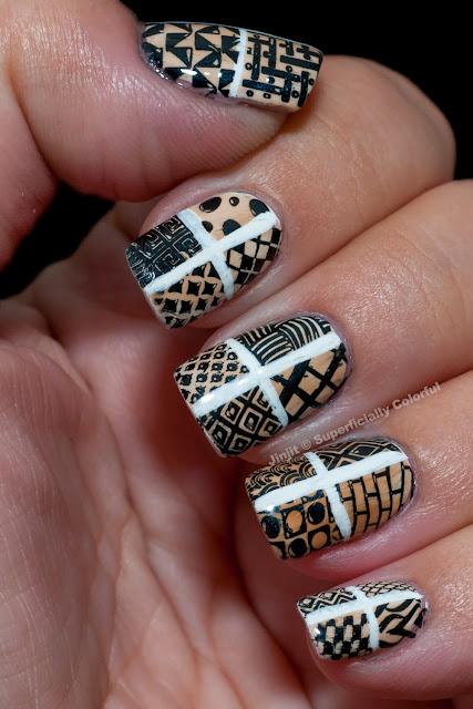 Geometric design stamping nail art vintage duo-chrome Tutorial