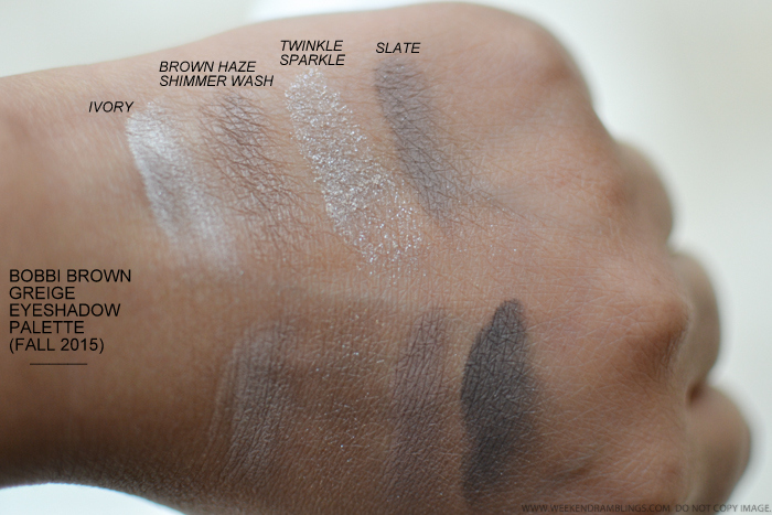 Bobbi Brown Greige Eyeshadows Palette Fall 2015 Makeup Collection Swatches Ivory Brown Haze Shimmer Wash Twinkle Sparkle Slate