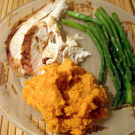 Plate of Vanilla Maple Yams with Turkey and Asparagus