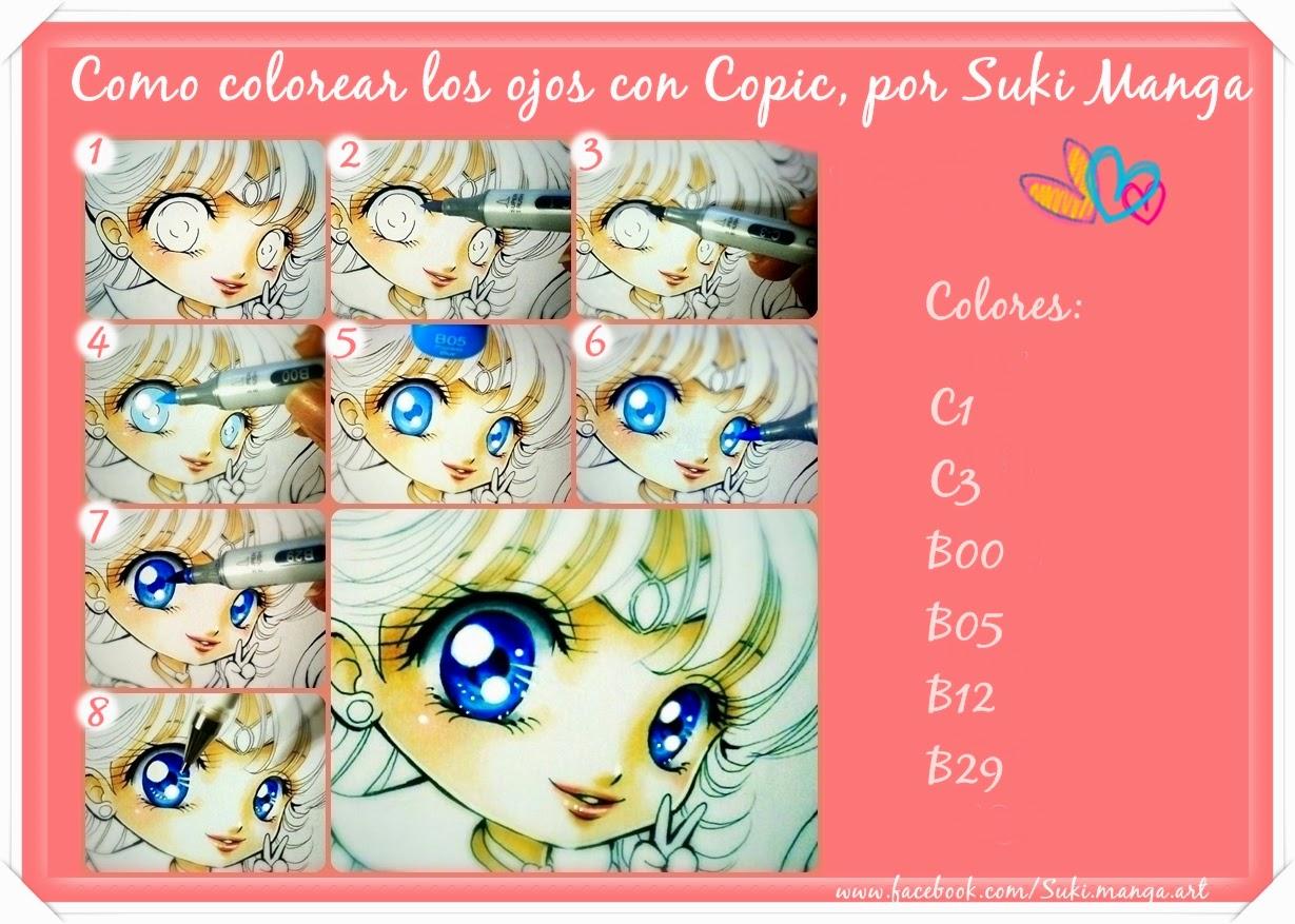 Copic Marker España: Como colorear ojos manga con Copic, por Suki Manga