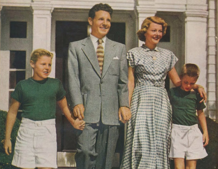 Ozzie and Harriet Nelson with sons, David and Ricky at home around 1950.