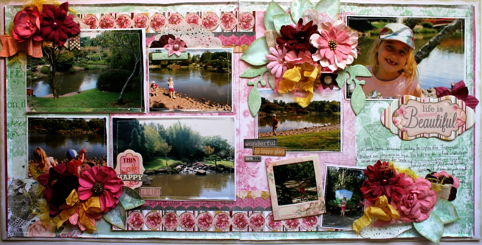 life is beautiful layout by Bernii Miller for BoBunny using the Madeline Collection.