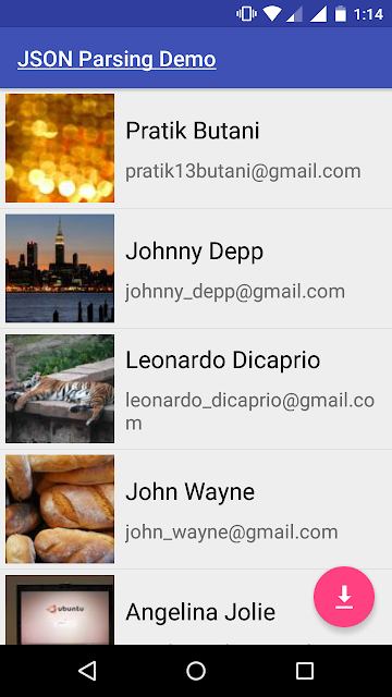 Android JSON Parsing Using okHttp Example with Custom View (ImageView + TextView)
