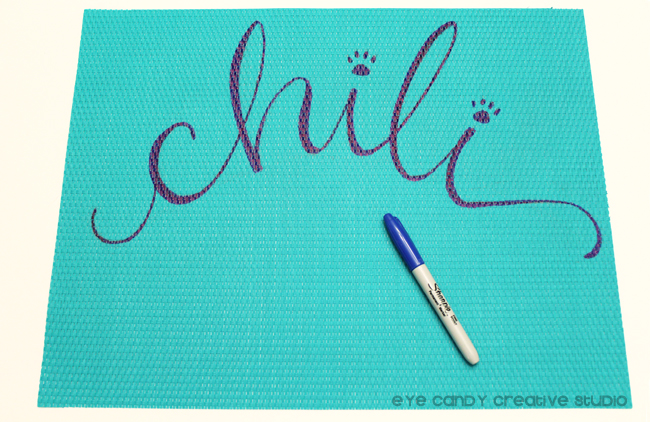 Sharpie marker, hand lettered place mat, hand lettering, personalization