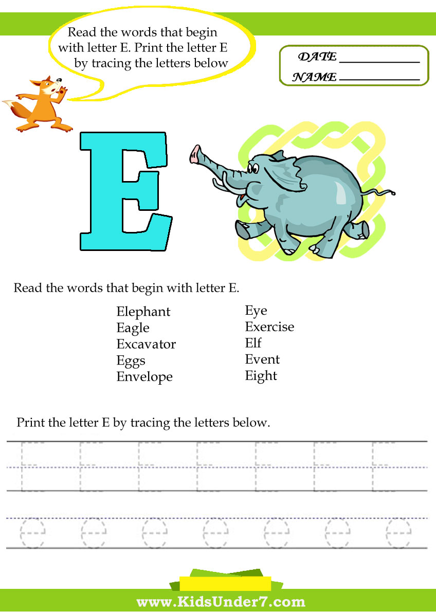 Read the words that begin with letter E. Print the letter E by ...