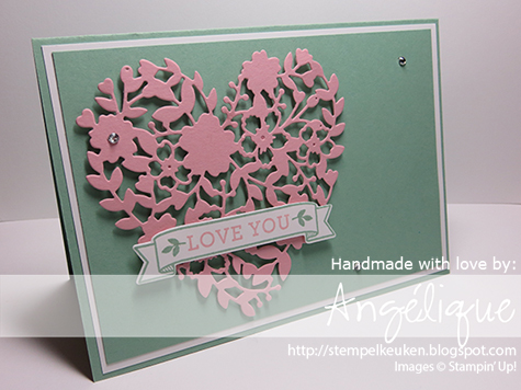 http://stempelkeuken.blogspot.com Big Shot Die Brush, Bloomin' Heart Thinlits, Bloomin' Love, Blushing Bride, Mint Macaron, Rhinestone Basic Jewels, Stampin' Dimensionals, Wink Of Stella,