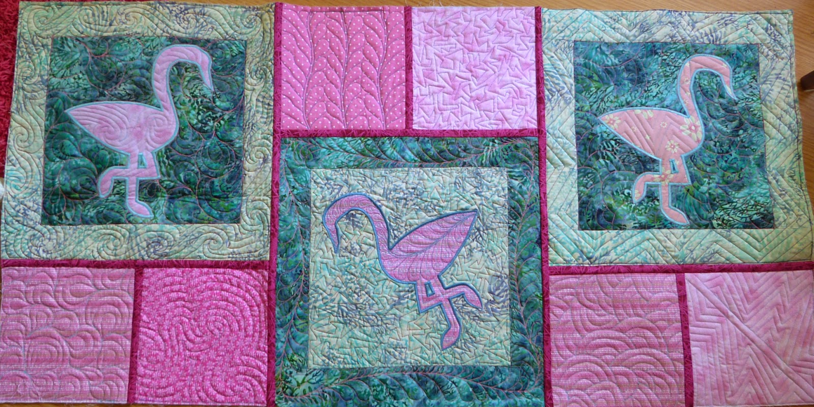 chquilts: pink flamingos