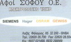 ΗΛΕΚΤΡΟΛΟΓΙΚΟ ΥΛΙΚΟ ΑΦΟΙ ΣΟΦΟΥ