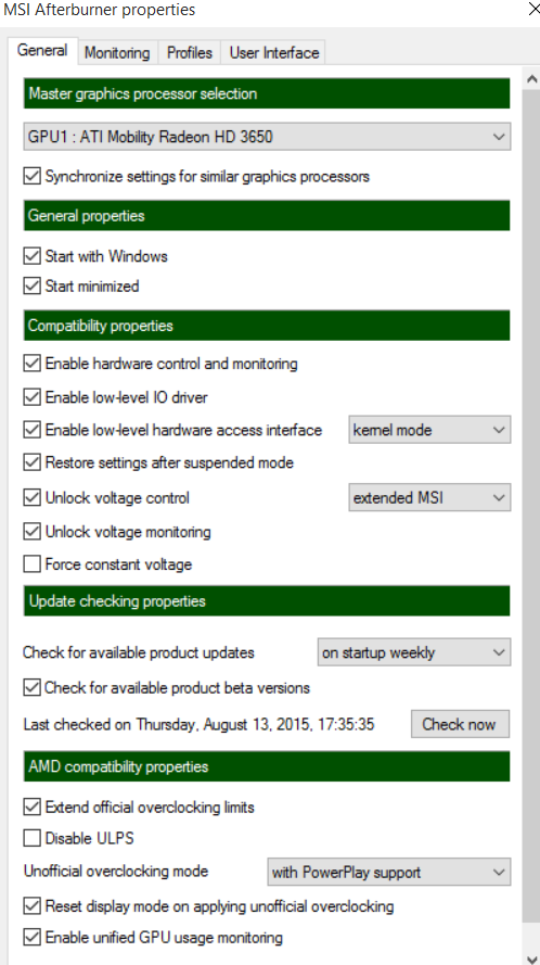 msi afterburner windows 10 not working
