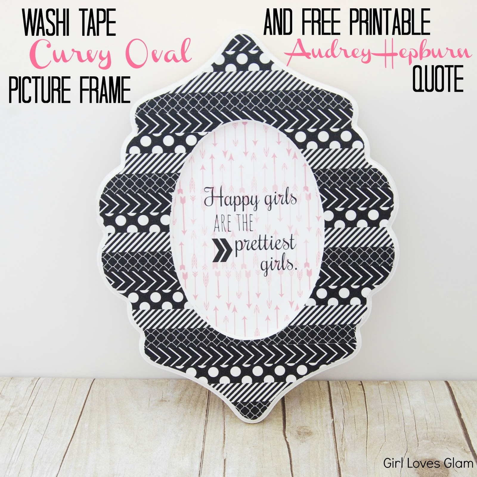 picture about Printable Quotes to Frame known as Do-it-yourself Washi Tape Curvy Oval Body and Audrey Hepburn Totally free
