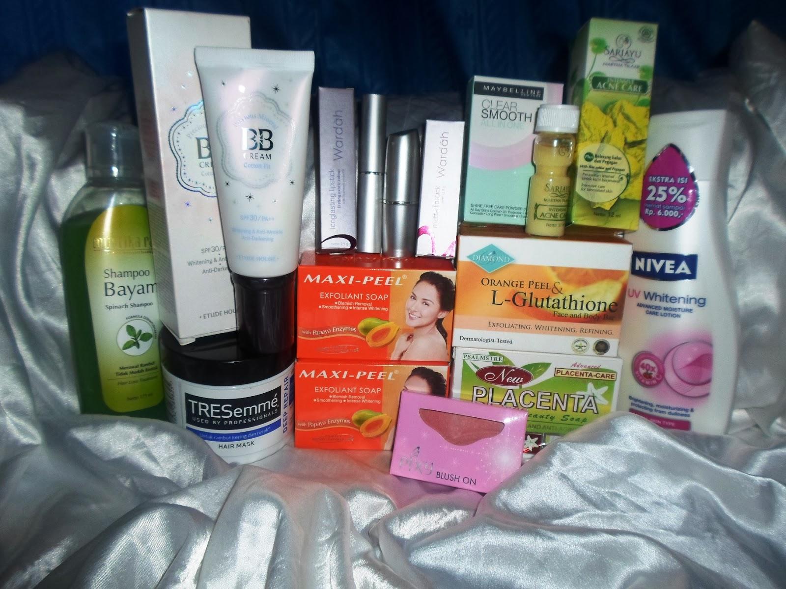 Inside My Beauty Pouch December Haul Mustika Ratu Complete Whitening Series Shampoo Bayam Hair Loss Treatment