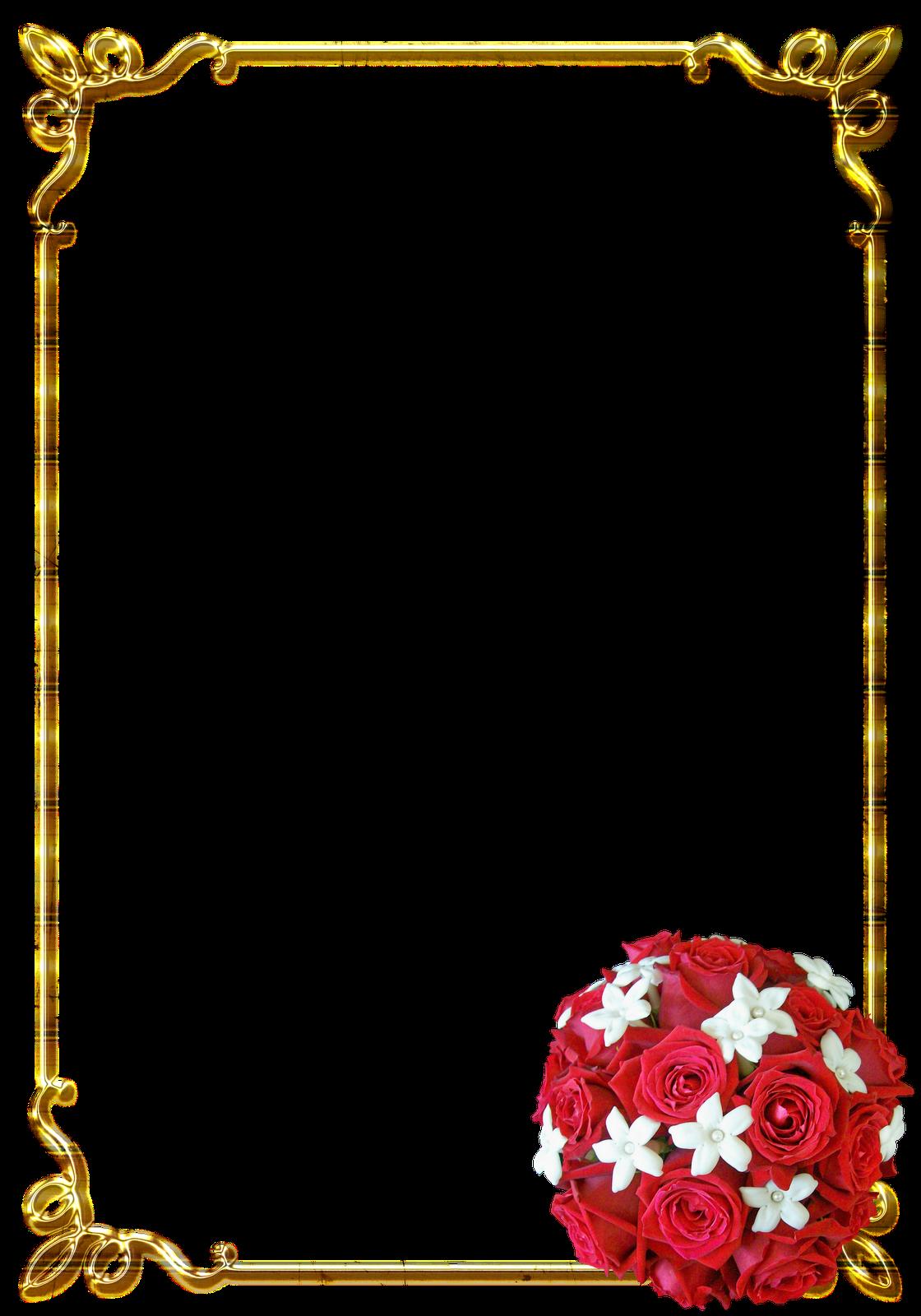 Frames PNG douradas com rosa vermelhas | Central Photoshop