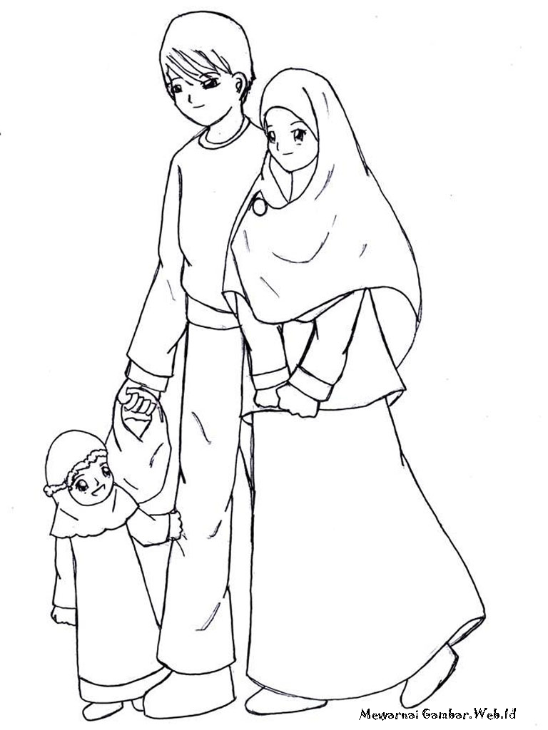 Keluarga Muslim Coloring Pages