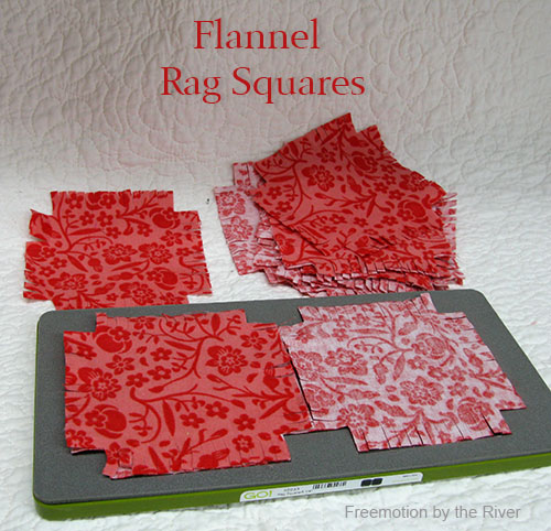 Cutting 4 rag squares at a time with the AccuQuilt Go Baby