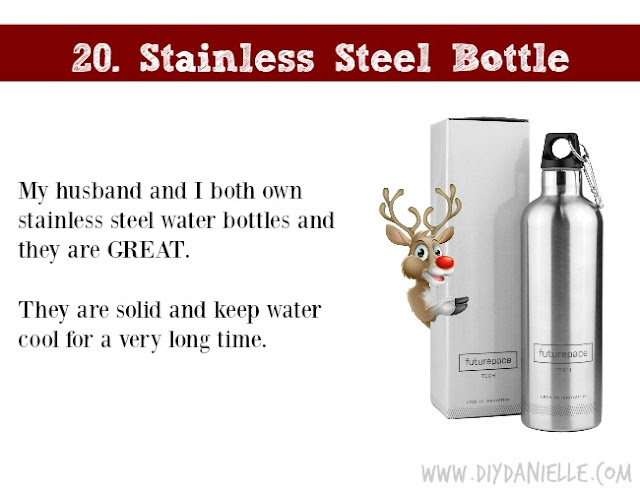 Holiday Gift Idea for Adults: Stainless Steel Water Bottle