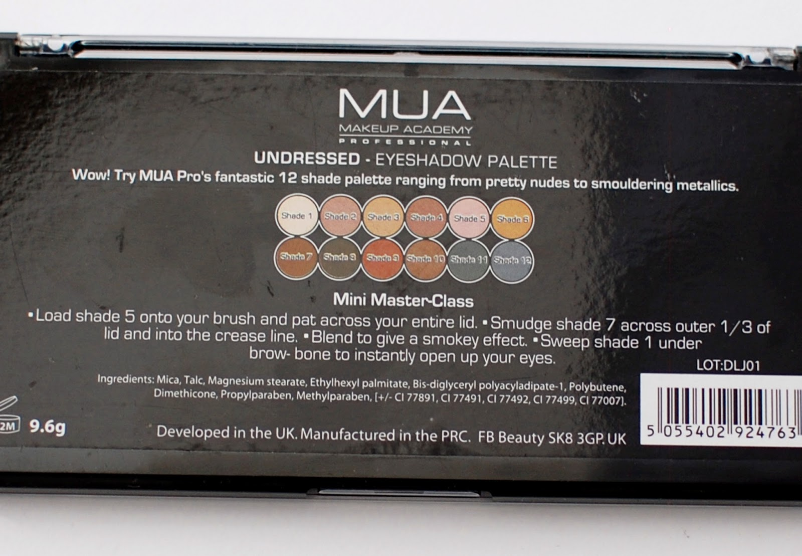 MUA Undressed Ingredients