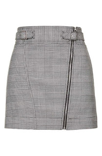 Topshop check biker skirt