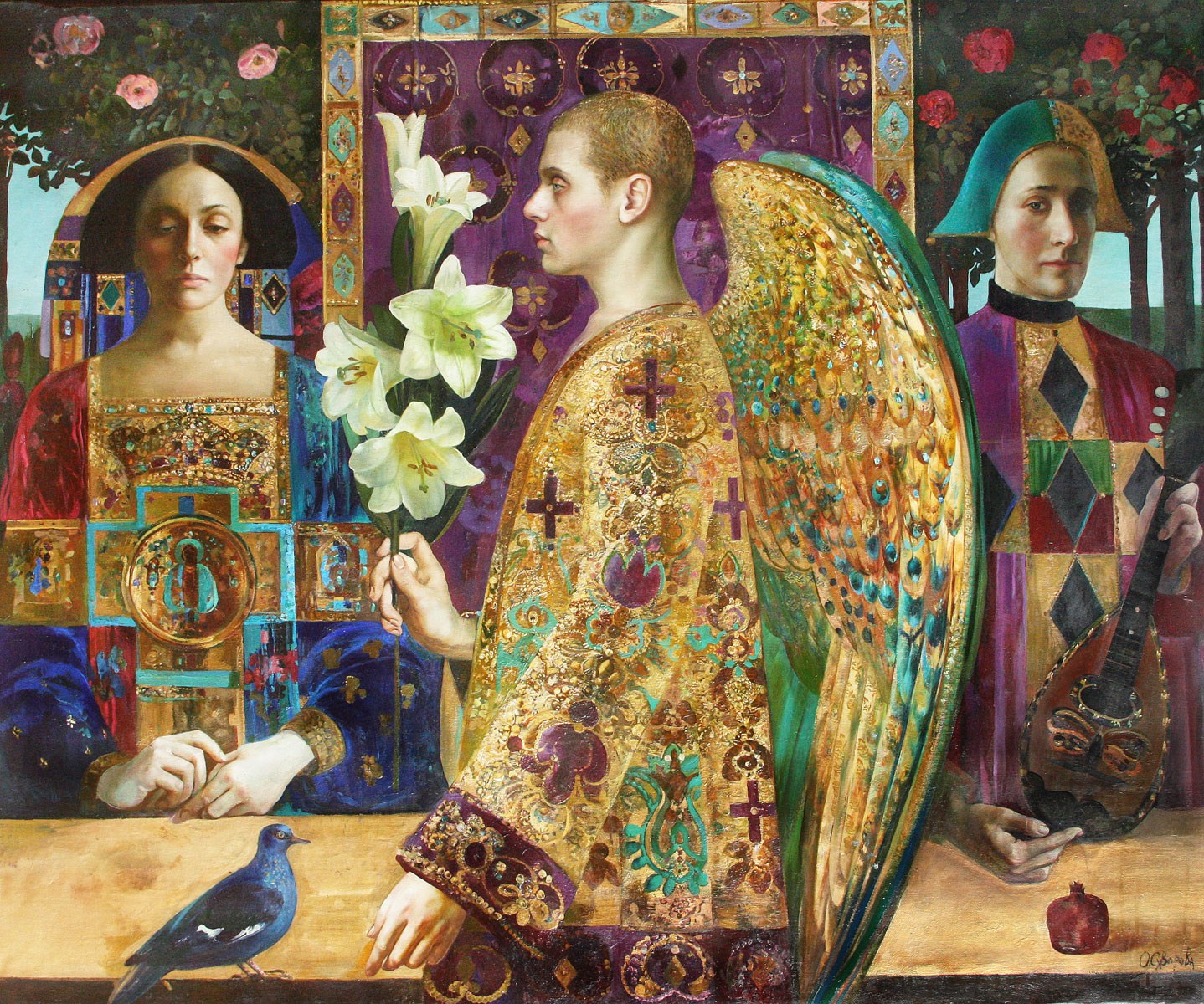 Golden-Annunciation-Olga-Suvorova-109x132-cm,-oil-on-canvas