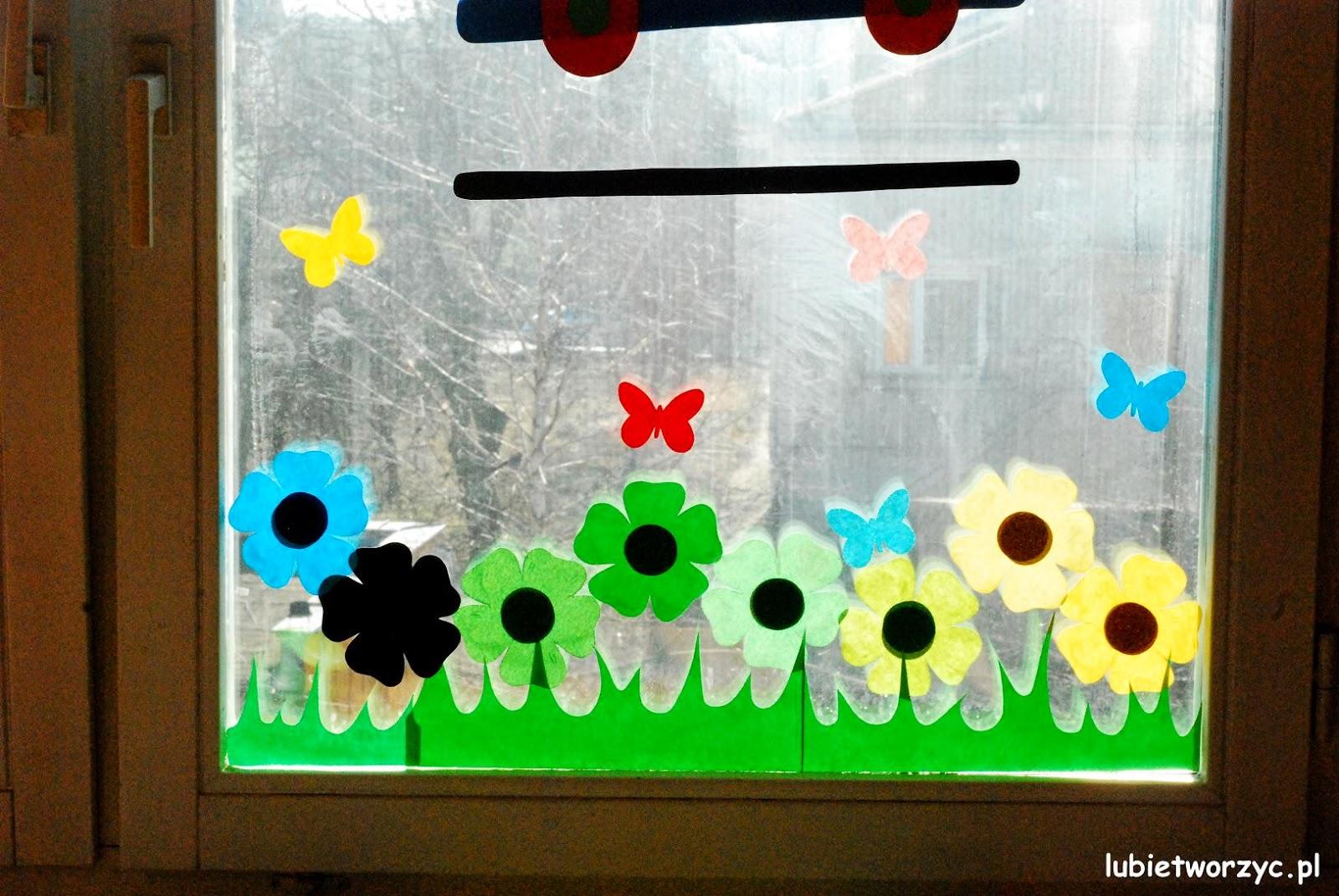 Lubię Tworzyć Pociąg I łąka Czyli Wiosenna Dekoracja Okienna