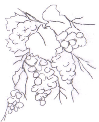 pintura em tecido frutas pano de prato uvas