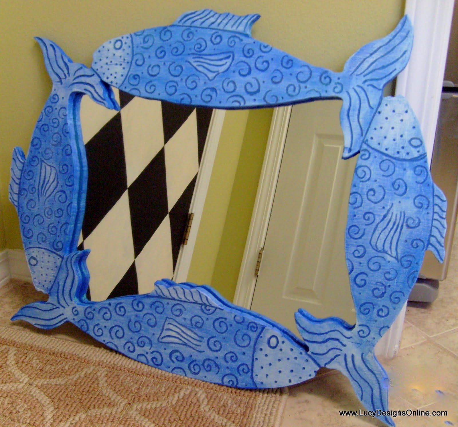 fish mirror hand made blue