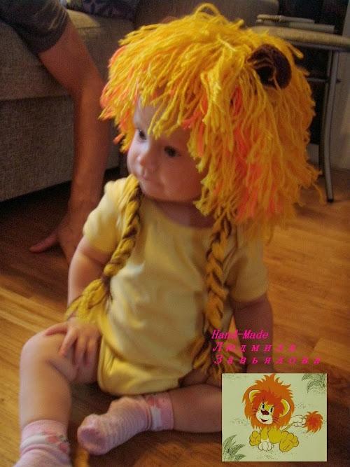 Детские вязанные шапочки на осень Львенок