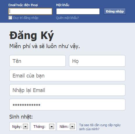 dang ky tai khoan facebook