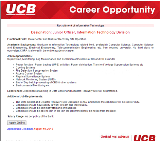 United Commercial Bank Junior Job Circular 2015
