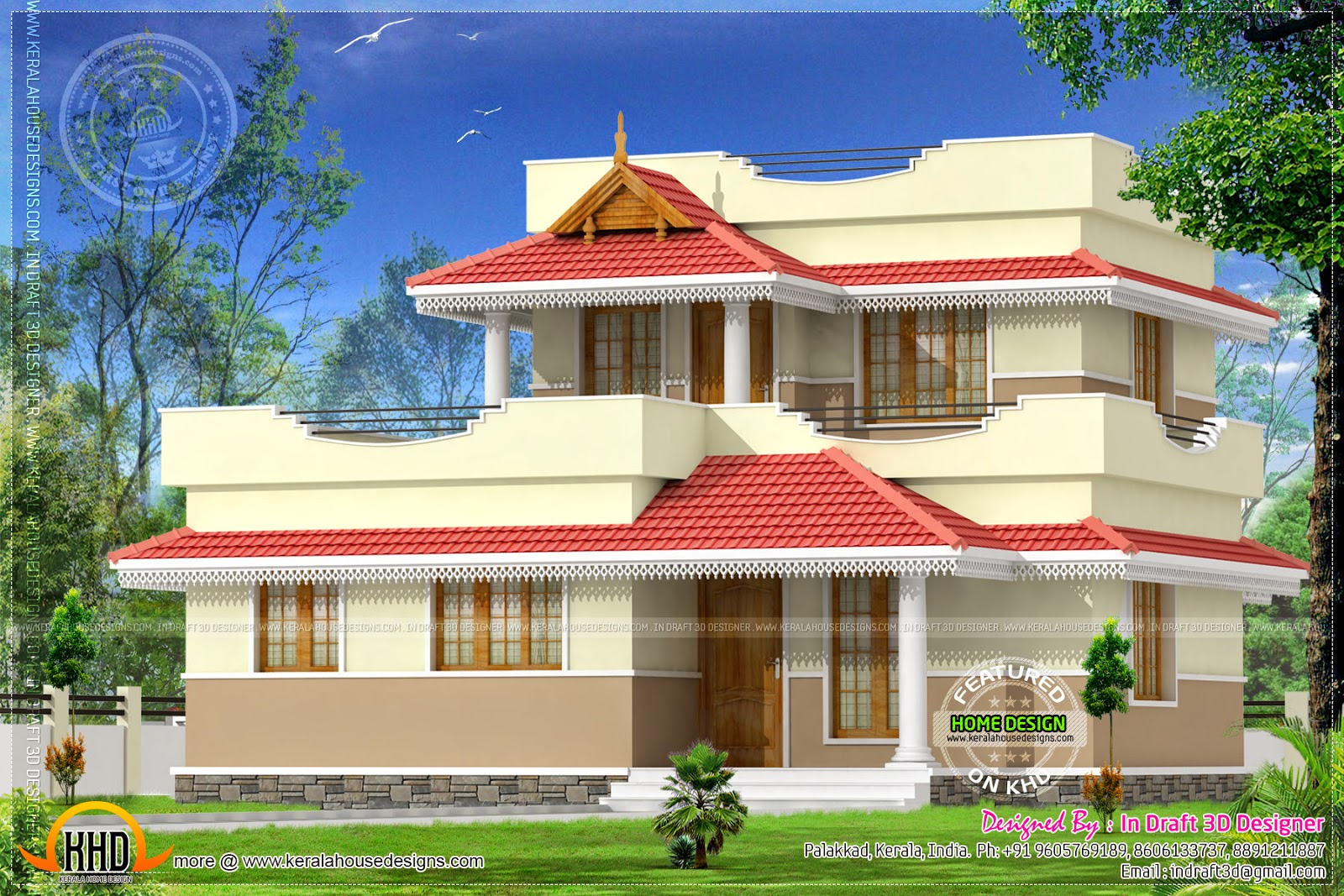 Double storied budget house kerala home design and floor for Small budget house plans in kerala