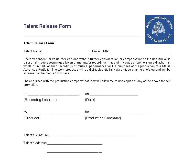 Todd Carter Talent Release Form